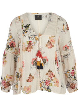 Cardigan med blomsterprint